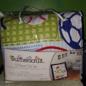 NIB Sumersault 10 Piece Crib Set - Sports Themed